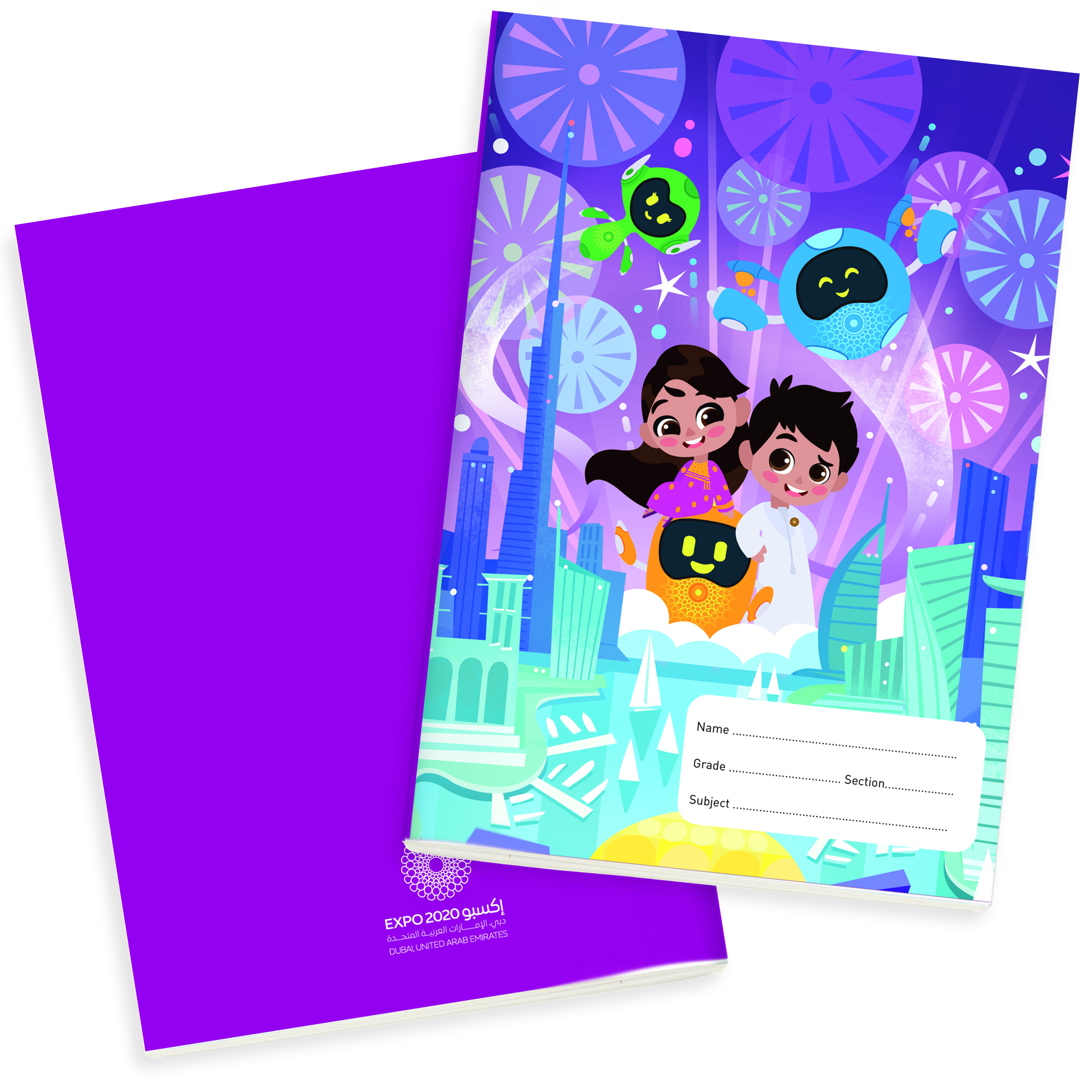 Expo 2020 Dubai Mascots On a Mission A4 Exercise Books Pack of 4 - 64 Pages