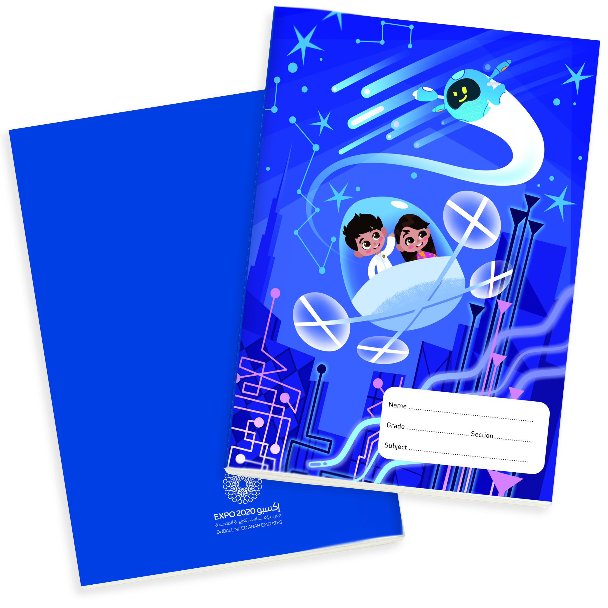 Expo 2020 Dubai Mascots Family B5 Exercise Books Pack of 4 - 96 Pages