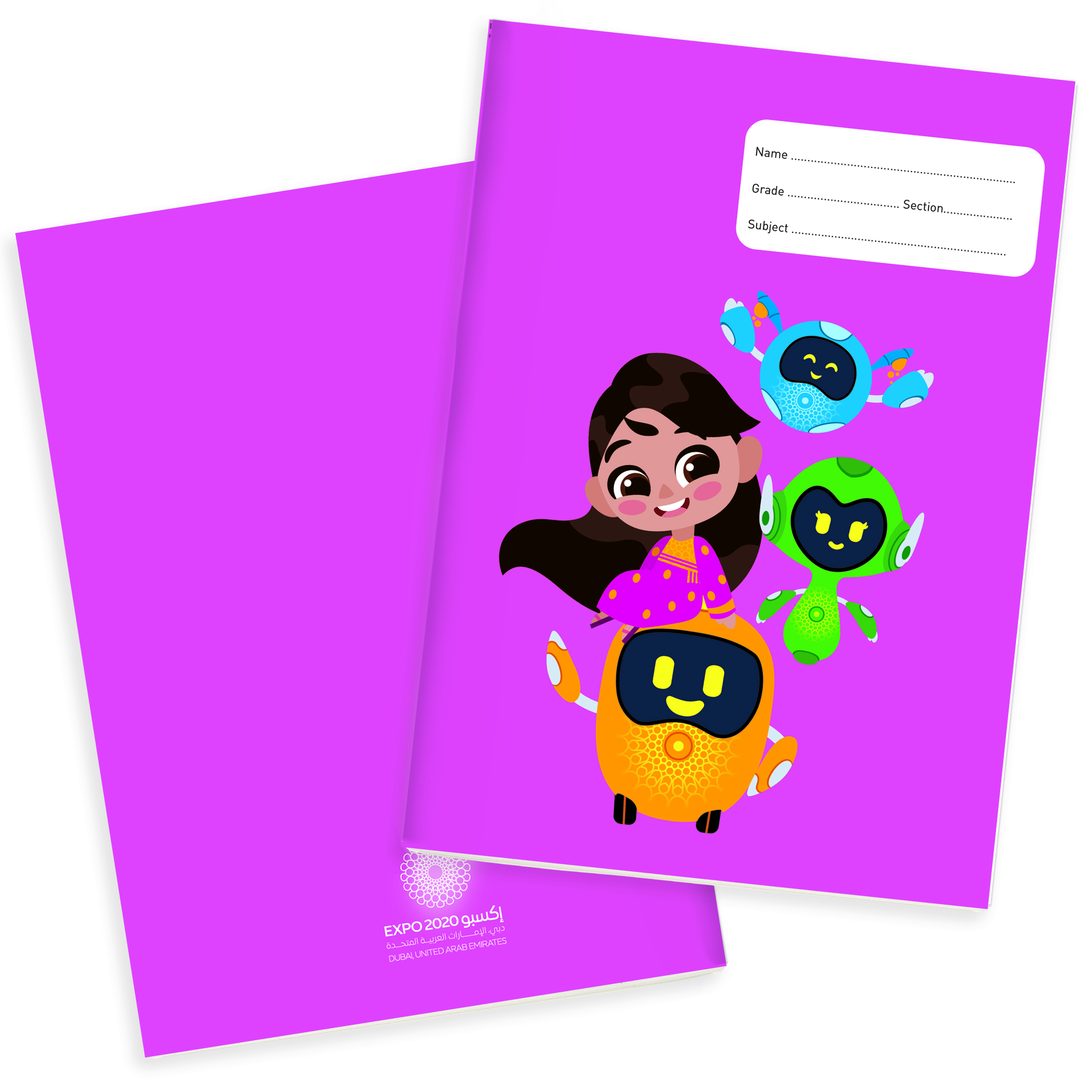 Expo 2020 Dubai Mascots A4 Exercise Books Pack of 4 - 160 Pages